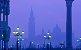 Обои Венеция, фонари, пьяцетта, туман, дворец дожей, Италия, вечер