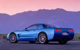 Обои синий, Z06, Corvette, Chevrolet, Шевроле, суперкар, вид сзади