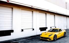 Обои жёлтый, стена, ferrari, феррари, yellow, берлинетта, ролеты
