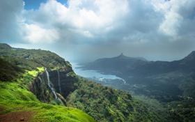 Картинка облака, водопад, Природа