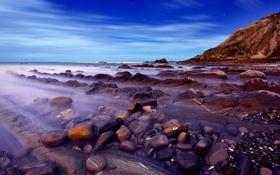 Обои камни, небо, скалы, вечер, море