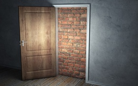 Обои свет, стена, дверь, вход