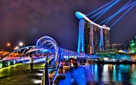 Картинка мост, city, здания, отель, освещение., hotel Сингапур, Singapor