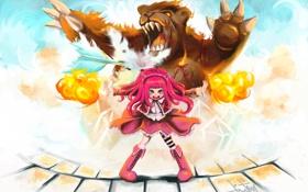 Картинка взгляд, магия, злость, медведь, девочка, art, league of legends