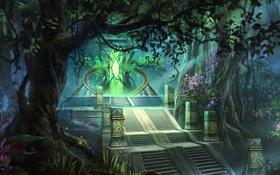 Картинка лес, свет, деревья, цветы, арт, лестница, ступени