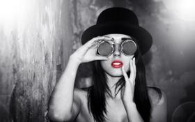 Картинка девушка, стиль, фон, очки