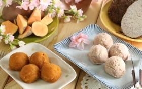 Обои шарики, сладости, китайские блюда