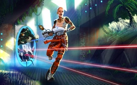 Картинка девушка, оружие, робот, портал, лазер, portal