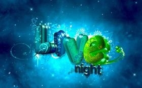 Обои ночь, жизнь, буквы, арт, надпис, живая ночь, Live night