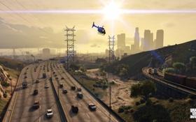 Обои лос сантос, машины, вертолет, Grand Theft Auto V, дорога, gta 5