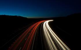 Обои дорога, свет, ночь, фото, пейзажи, вид, дороги