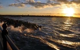 Картинка море, волны, солнце, закат, природа, камни, фото