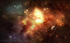 Обои art, туманность, космос, планета, звезды, space