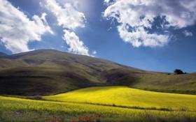 Обои долина, небо, холмы, Monti Prenestini, Италия, поля