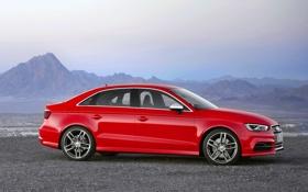 Обои Audi, Красный, Авто, Горы, Машина, Корпус, Седан
