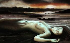Обои чешуя, глаза, фантастика, хвост, море, волосы, русалка