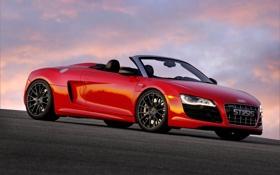 Картинка красный, audi, кабриолет, автомобиль, v10, stasis