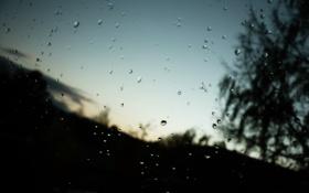 Картинка небо, капли, закат, дождь