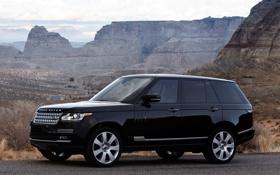 Обои передок, Ренж Ровер, чёрный, Autobiography, Range Rover, Land Rover, горы