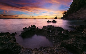 Картинка закат, океан, скалы, берег, лодки, Philippines, Boracay