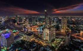 Картинка ночь, city, город, река, Таиланд, Бангкок, Bangkok