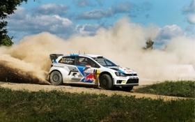 Обои Авто, Пыль, Белый, Volkswagen, Скорость, Занос, WRC