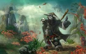 Обои монах, WoW, World of Warcraft, пандарен, Pandaren