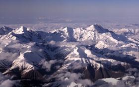 Картинка снег, горы, вершины, mountain range, Caucasus, Mount Ushba