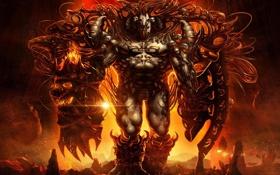 Картинка оружие, пламя, череп, монстр, арт, щит, цепи