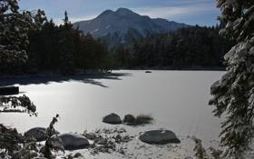 Обои зима, небо, вода, солнце, снег, деревья, горы