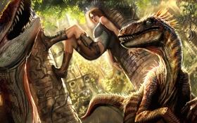 Обои птицы, ситуация, джунгли, колонны, динозавры, Tomb Raider, руины