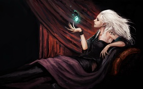 Обои кристалл, девушка, эльф, когти, татуировка, занавес