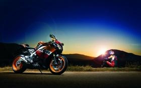 Обои закат, мотоцикл, Honda, мотоциклист, блик, хонда, CBR