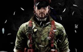 Обои повязка, Metal Gear Solid, амуниция, Naked Snake, арт, мужчина, темный фон
