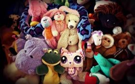 Картинка игрушка, игрушки, заяц, змея, медведь, обезьяна, пони