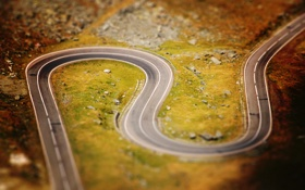 Картинка дорога, фото, пейзажи, дороги, фокус, размытие, tilt-shift