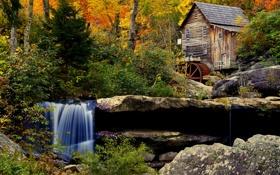 Картинка осень, лес, деревья, камни, водопад, водяная мельница