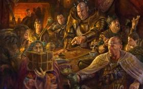 Картинка стол, арт, книга, кристаллы, компания, мужчины, Dungeons & Dragons