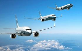 Картинка Самолет, Три, Boeing, Авиация, 737, В Воздухе, Авиалайнеры