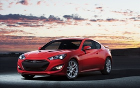 Обои купе, автомобиль, Hyundai, красная, Coupe, Genesis, хюндай