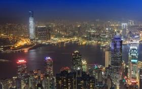 Картинка ночь, город, река, фото, дома, Гонконг, Китай