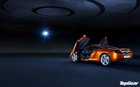 Обои свет, фон, McLaren, двери, Top Gear, суперкар, полумрак