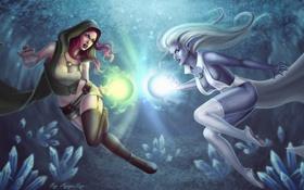 Картинка девушки, магия, фэнтези, арт, кристаллы, битва, эльфийка