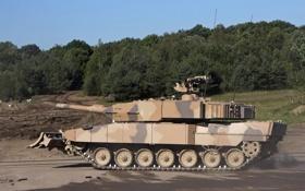 Обои лес, танк, боевой, оснащен, «лопатой», с гидроприводом, завалов