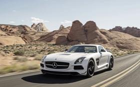 Картинка Mercedes-Benz, Скалы, Белый, Капот, AMG, SLS, Люкс