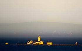 Картинка домики, небо, маяк, море