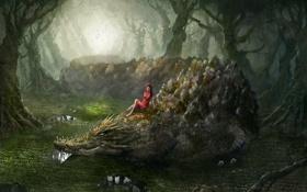 Картинка лес, девушка, крокодил, джунгли, swamp thing