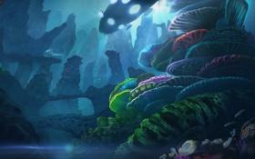 Обои свет, скалы, транспорт, корабль, кораллы, арт, под водой