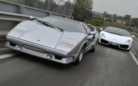 Обои Lamborghini, Gallardo, передок, and, суперкары, Countach, Ламборгини