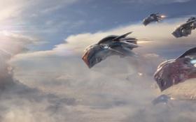 Картинка небо, звездолёты, sky, Marvel, Марвел, starships, Guardian of the galaxy